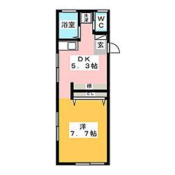 レオパレス南野 2階1DKの間取り