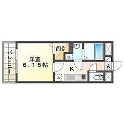阪急宝塚本線 服部天神駅 徒歩8分の賃貸アパート 3階1Kの間取り
