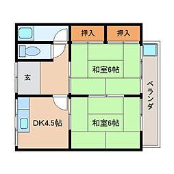 奈良県天理市新泉町の賃貸アパートの間取り