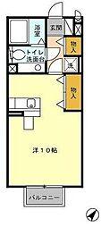 東京都八王子市堀之内の賃貸アパートの間取り