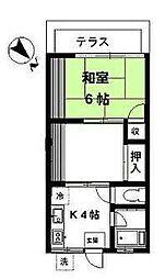 石川台アパート[203号室]の間取り