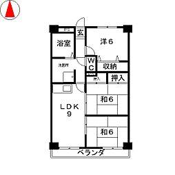 滋賀県野洲市市三宅の賃貸マンションの間取り