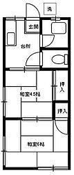 第二日栄コーポ[205号室]の間取り