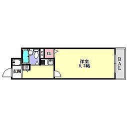 兵庫県神戸市兵庫区福原町の賃貸マンションの間取り