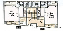 WED COURT Nishiarai house[102号室]の間取り