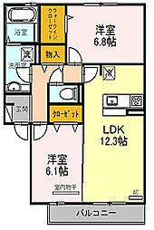 大阪府枚方市養父元町の賃貸アパートの間取り