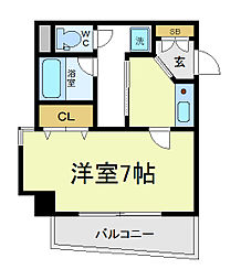 EXCELKUMATA 3階1Kの間取り