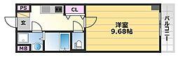 レーヴメゾン三国ヶ丘 4階1Kの間取り
