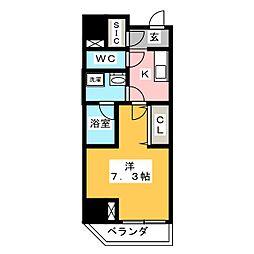 江戸川橋ステーションレジデンス 7階1Kの間取り