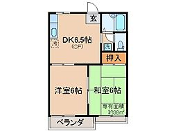 京都府京都市伏見区日野西大道町の賃貸アパートの間取り