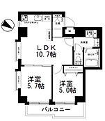 2LDKの間取り図。4階・角部屋です。