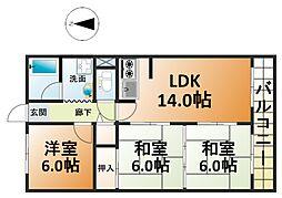 ドムール北堀江[6階]の間取り
