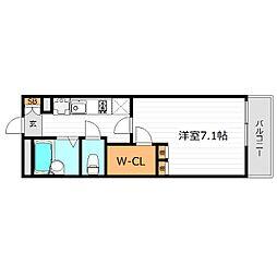 京阪本線 関目駅 徒歩2分の賃貸マンション 3階1Kの間取り