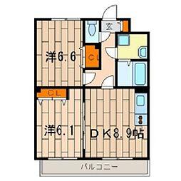 神奈川県川崎市中原区上平間の賃貸マンションの間取り