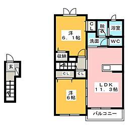 ハーモニーI[2階]の間取り