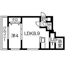 札幌市営南北線 中島公園駅 徒歩13分の賃貸マンション 5階1LDKの間取り