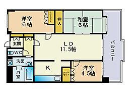 西新中央パークマンション[3階]の間取り