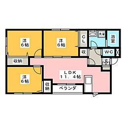 メゾンクラッセ皿山[102号室]の間取り