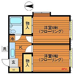 東京都三鷹市牟礼2丁目の賃貸マンションの間取り