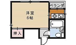 シャトー西田辺[4階]の間取り
