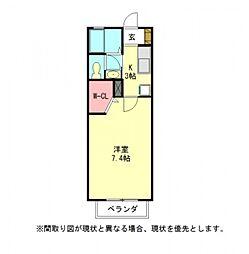 愛知県一宮市木曽川町黒田一ノ通りの賃貸アパートの間取り