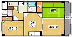 レスポワール星田[2階]の間取り