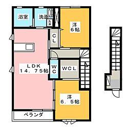 ファミールソーワD[2階]の間取り