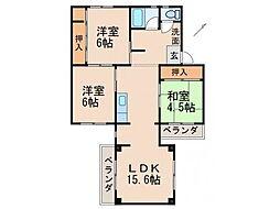 ピュア紀三井寺V 2階3LDKの間取り