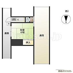 鈴木荘[西ー3号室]の間取り