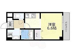 能勢電鉄妙見線 滝山駅 徒歩4分の賃貸マンション 2階1Kの間取り