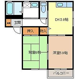 ベルメゾン稲里B棟[2階]の間取り