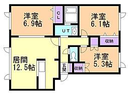 ハウス虹の彩 2階3LDKの間取り