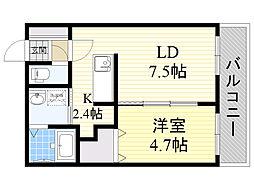 JR函館本線 手稲駅 徒歩7分の賃貸マンション 4階1LDKの間取り