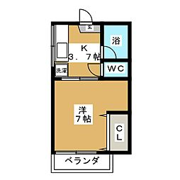 コーポ蜂[1階]の間取り