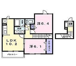 兵庫県姫路市勝原区下太田の賃貸アパートの間取り