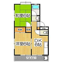 中島マンション[2階]の間取り