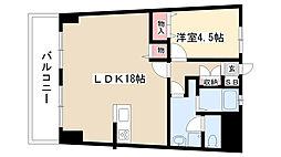 愛知県名古屋市昭和区八事本町の賃貸マンションの間取り