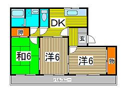ビレッジ北栄[3階]の間取り