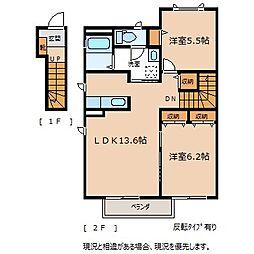 長野県駒ヶ根市赤須東の賃貸アパートの間取り