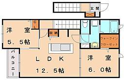 ガーデンクレールアベ[2階]の間取り