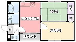 クレアール甲子園[102号室]の間取り