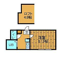 ロッシェル東林間[2階]の間取り
