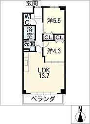 メナー浄心II[4階]の間取り