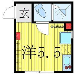 西武池袋線 椎名町駅 徒歩1分の賃貸マンション 3階ワンルームの間取り