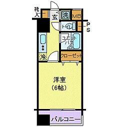 東京メトロ有楽町線 新富町駅 徒歩1分の賃貸マンション 7階1Kの間取り