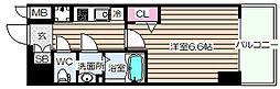 プレサンス梅田II 13階1Kの間取り