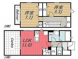 JR内房線 五井駅 バス8分 飛天坂下車 徒歩2分の賃貸テラスハウス 1階2LDKの間取り