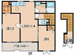 JR紀勢本線 海南駅 6kmの賃貸アパート 2階2LDKの間取り