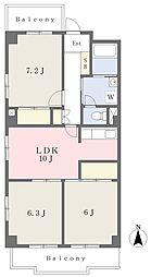 JR南武線 矢川駅 徒歩1分の賃貸マンション 5階3LDKの間取り