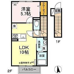 仮)D-room新井田西2丁目 2階1LDKの間取り